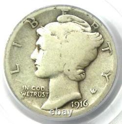 1916-D Mercury Dime 10C Coin Certified PCGS G6 (Good) Rare Key Date