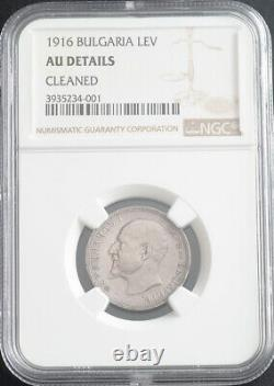 1916, Kingdom of Bulgaria, Ferdinand I. Silver 1 Lev Coin. Rare Date! NGC AU+