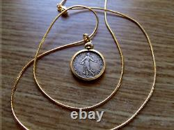 1918 RARE FRENCH MAIDEN COIN PENDANT Dark Antique Silver on a Gold Filled Chain