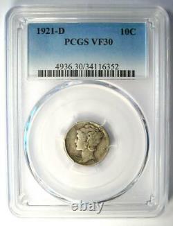 1921-D Mercury Dime 10C Coin Certified PCGS VF30 Rare Key Date
