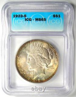 1923-S Peace Silver Dollar $1 ICG MS65 Rare Certified Coin $2,780 Value