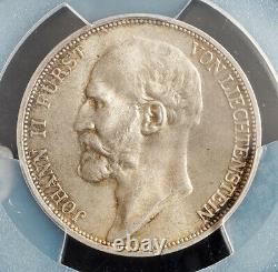 1924, Liechtenstein, Prince Johann II. Rare Silver 2 Franken Coin. PCGS MS65(+)
