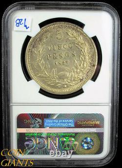 1927-SO Chile Silver Five Pesos S5P NGC MS62 BU Uncirculated Republic Coin Rare