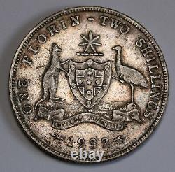 1932 Australia Florin KM# 27 Sterling Silver Coin George V RARE -aVF