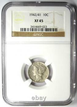 1942/1 Mercury Dime 10C Certified NGC XF45 (EF45) Rare Overdate Variety Coin