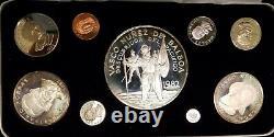 1982 Republic of Panama (9) Coin Silver Balboa Proof Set in Case Rare