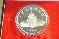1988 PRC China 12 Oz Silver Panda 100 Yuan Coin With Original Box & COA Rare F/S