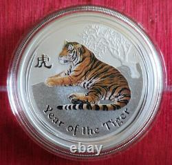 1 Oz colorized Lunar II silver coin 2010, Tiger rare from sealed roll