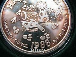 1-oz. Pure Silver Rare Pink Panther United Artists Cartoon Christmas Coin + Gold