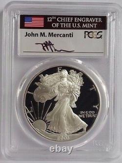 2003 W Proof Silver Eagle Pcgs Pr70 Dcam Rare Flag Mercanti Signed Label