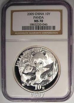 2005 China Silver Panda S10Y NGC MS70 Rare Top Grade MS70 Coin
