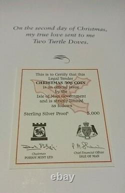 2006 Isle of Man Christmas 50p Pence Turtle Doves Silver Proof Coin Card RARE