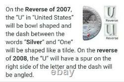 2008 W Silver Eagle Burnished MS70 REVERSE OF 2007 ERROR MERCANTI POP (11) RARE