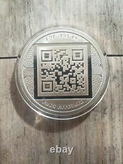 2012 RARE Uncracked Physical Bitcoin BTC 1 oz. 999 Silver Coin Round QR Code