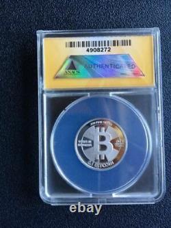 2013 Casascius 0.1 BTC Loaded Silver Collectable Coin ANACS MS69 RARE