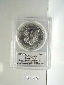 2015-(P) -Cleveland LabelVery Rare $1 Silver Eagle Ms 69 Philadelphia