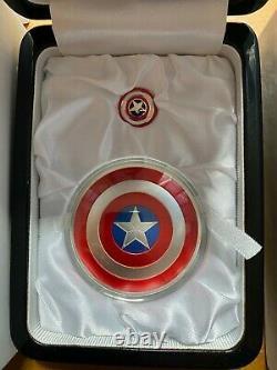 2016 Fiji 75th Anniversary 2oz Captain America Shield Silver Proof Coin RARE