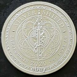 2020 2 Oz. 999 Pure Silver Shield Group Crucible Round Coin Coa Bu Bullion Rare