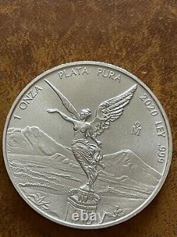 2020 Mexico 1/10oz Gold & 1oz Silver Libertad Coin Set Rare BU Low Mint