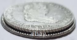 2 Colonial Rare Silver Coins Set 1812 C. I & S. F 2 Reales Ferdinand VII Scarce