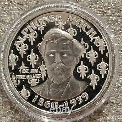 Alphonse Mucha 1 0z. 999 silver coin Colorized Dance Art series Rare Beauty NEW