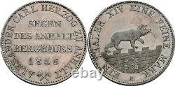 Anhalt Bernburg 1 Thaler 1846 A Silver Unc MS Coin Bear Germany Taler Rare Year
