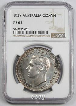 Australia 1937 Silver Crown Proof Coin NGC PF63 KM#34 George VI Mintage100 RARE