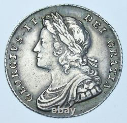 Extremely Rare 1731 Shilling, Roses & Plumes, British Silver Coin From George II