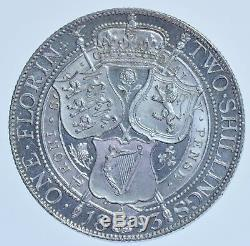 Extremely Rare 1893 Proof Florin British Silver Coin Victoria Only 1312 Struck