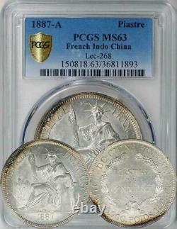 French Indochina 1887-A Piastre PCGS MS-63 only 3 coins graded higher! RARE