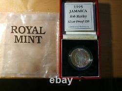 Genuine Rare Bob Marley 50 Dollar Silver Coin (1995)