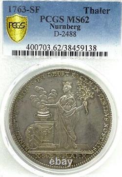 German States Nuremberg 1763 Taler Coin Thaler PCGS MS62 Taler VZ/F. STG RARE UNC