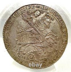 German States Saxony 1678 Taler Coin PCGS MS 62 F. STG/STG Thaler UNC GARTER RARE