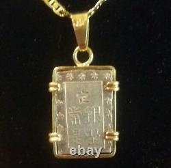 Hand Made in 18 k Bezel Housed An Japanese Rare Old Silver Coin Pendant