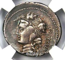 L. Cassius Qf. Longinus AR Denarius Silver Coin 78 BC Certified NGC VF Rare