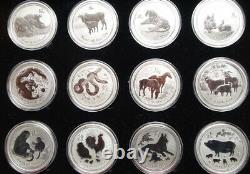 Lunar Set 12x 2 oz silver coins 2008-2019, with Presentation Box, very rare