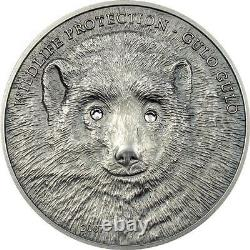 MONGOLIA 2007 500 TOGROG Gulo Gulo Wolverine 1 OZ SILVER Coin Extremely RARE