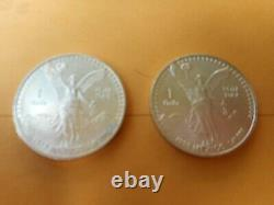 Mexican 1 oz Libertad lot of 2x coins rare dates early 90s