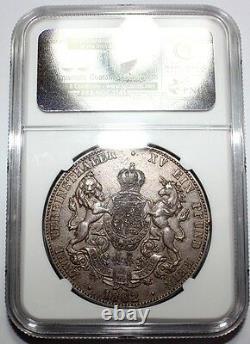 NGC-AU GERMAN 1862 Hannover 2 Thaler Silver Coin Nice Patina Rare
