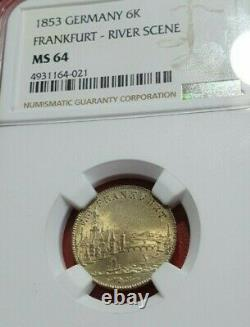 NGC Frankfurt 1853 MS 64 6 Kreuzer Silver Coin City View Germany State Rare