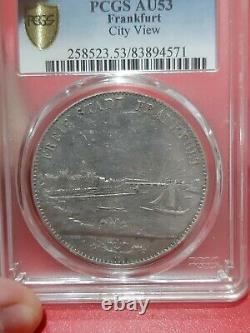 PCGS Frankfurt 1841 AU 53 (Double) 2 Thaler Silver City View Coin Germany Rare