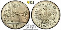 PCGS Frankfurt MS 66 1839 1 Kreuzer Silver Coin City View Flashy Unc MS Rare Gem