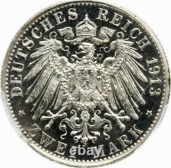 PCGS Prussia 1913 PR 64 CAM 2 Mark PF Silver Proof Cameo Germany Coin Rare