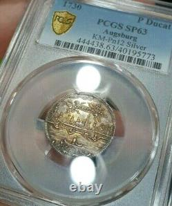 PCGS SP 63 Augsburg 1730 Unc 1 Ducat Pattern Rare City View Silver Coin Colors