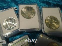 Peace Dollars-certified Emeralds-estate Coins-gems-sale-rare Lot