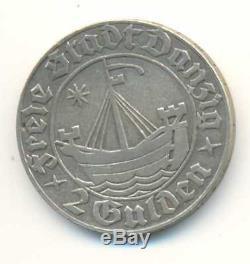 Poland Danzig Free City Silver Coin 2 Gulden 1932 VF/XF RARE
