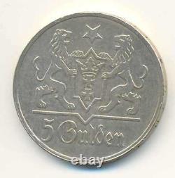 Poland Danzig Free City Silver Coin 5 Gulden 1923 XF RARE
