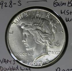 RARE 1928-S Peace Silver Dollar Doubled Die Obverse. Vam 3 BU MS++ UNC Coin