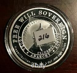RARE 2017 Sovereign Free Will Bullion Silver PROOF Round Coin Anarchy #216/500