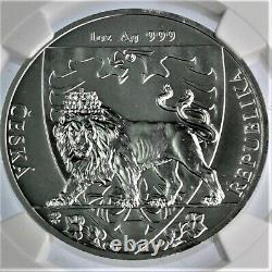 RARE 2020 Czech Lion 1 oz. 999 silver BU graded coin NGC MS69
